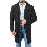 Laverapelle Men's Genuine Cow Suede Leather Coat (Over Coat) - 1502302