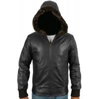Laverapelle Men's Genuine Lambskin Leather Jacket (Hooded) - 1701060