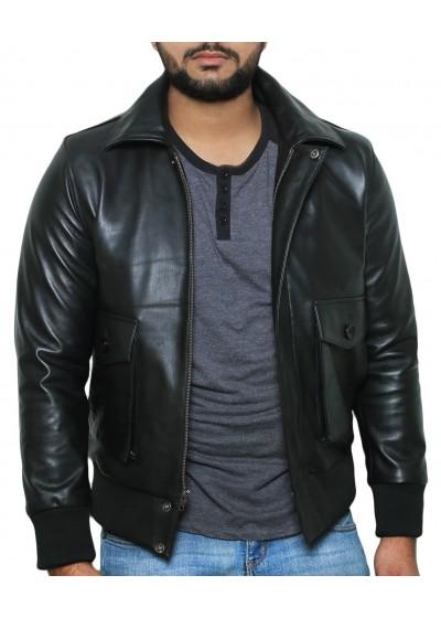 Laverapelle Men's Genuine Lambskin Leather Jacket (Black, Flight Jacket) - 1801069