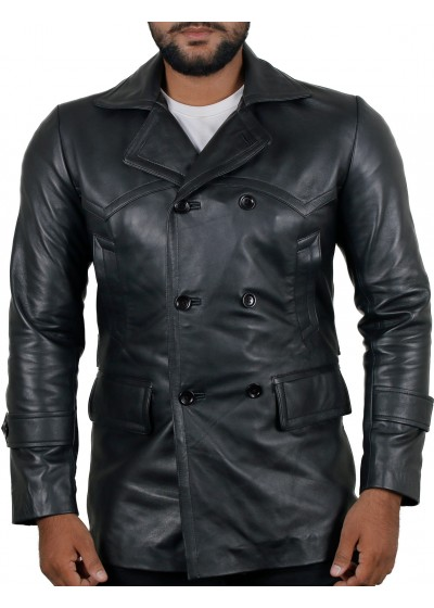Laverapelle Men's Genuine Lambskin Leather Coat (Black, Officer Coat) - 1802015