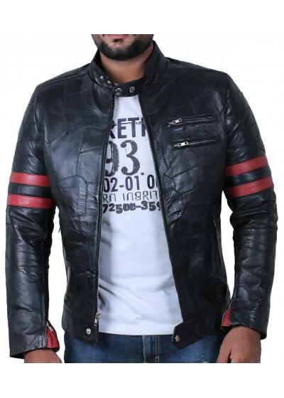 Laverapelle Men's Genuine Lambskin Leather Jacket (Patchwork) - 1901535