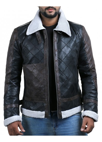 Laverapelle Men's Genuine Lambskin Leather Jacket (Black, Patchwork) - 2001023
