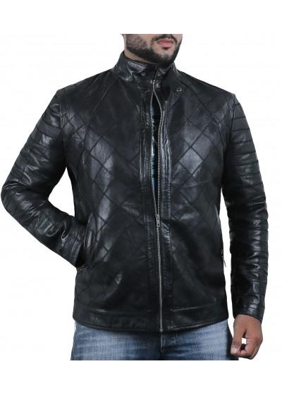 Laverapelle Men's Genuine Lambskin Leather Jacket (Patchwork) - 2001491