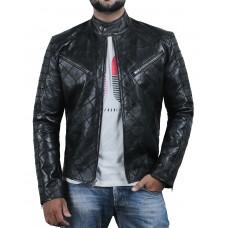 Laverapelle Men's Genuine Lambskin Leather Jacket (Patchwork) - 2001615