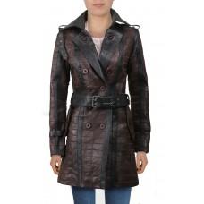 Laverapelle Women's Genuine Lambskin Leather Coat (Patchwork) - 2022036
