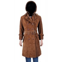 Laverapelle Women's Genuine Cow suede Leather Coat (Black, Trench Coat) - 2122001