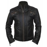 Laverapelle Men's RIVET Biker Leather Jacket With Distressed Faded Seams (Fencing Jacket) - 1501810