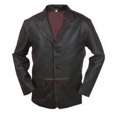 Laverapelle Men's 3 Button Vintage Real Cowhide Leather Stylish Coat (Blazer Coat) - 1502801
