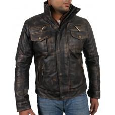 Laverapelle Men's Genuine Cow Ruboff Leather Jacket (Racer Jacket) - 1801011