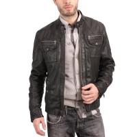 Laverapelle Men's Genuine Cowhide Leather Jacket (Officer Jacket) - 1501608