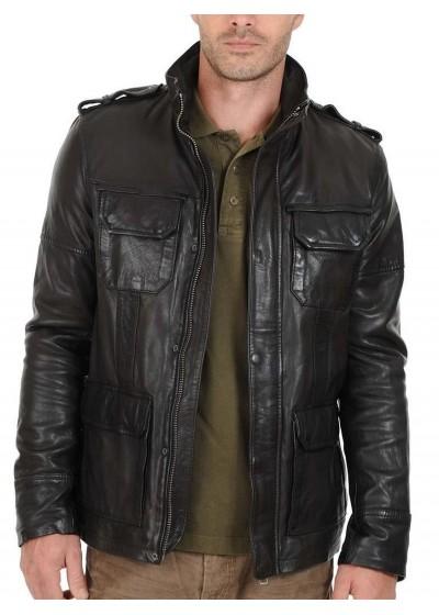 Laverapelle Men's Genuine Lambskin Leather Jacket (Field Jacket) - 1501287