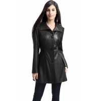 Laverapelle Women's Genuine Lambskin Leather Coat (Car Coat) - 1522683