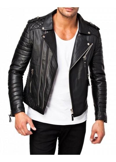 Laverapelle Men's Genuine Lambskin Leather Jacket (Fencing Jacket) - 1501073